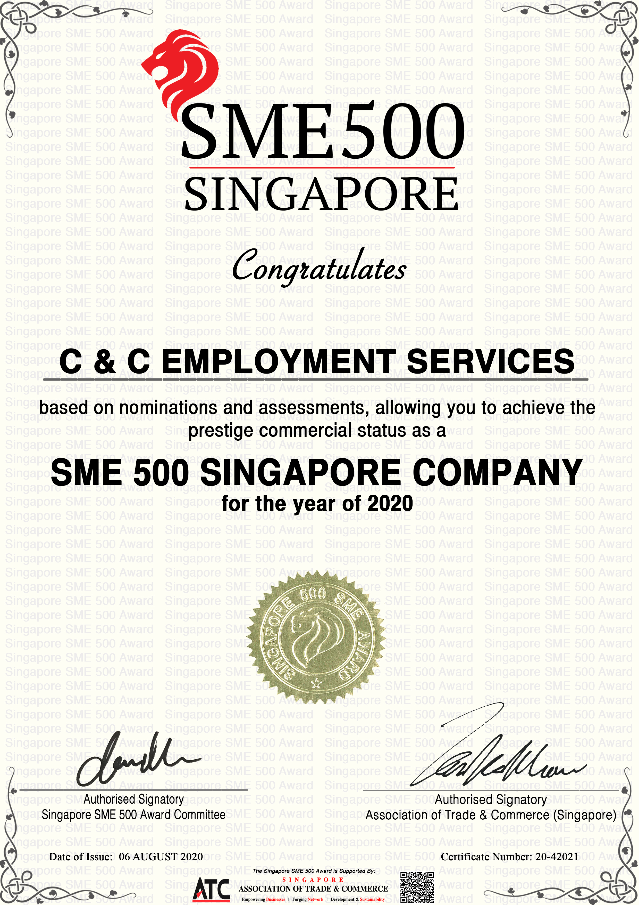 THE SINGAPORE SME 500 AWARD